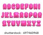 pink letter balloon alphabet ... | Shutterstock . vector #697460968
