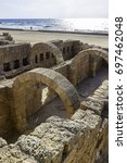 ancient roman bathhouse ruins... | Shutterstock . vector #697462048