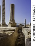 doric white marble columns... | Shutterstock . vector #697462174