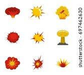 explosion destruction icons set.