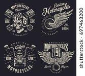set of vintage custom... | Shutterstock .eps vector #697463200