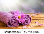 spa still life composition with ... | Shutterstock . vector #697464208