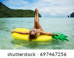 summer lifestyle portrait of... | Shutterstock . vector #697467256