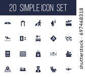 set of 20 plane icons set... | Shutterstock .eps vector #697468318
