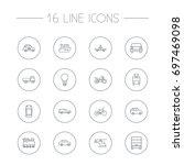 set of 16 shipping outline... | Shutterstock .eps vector #697469098