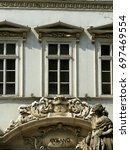 Small photo of Windows and decoration of the Cyrano house in Budapest center