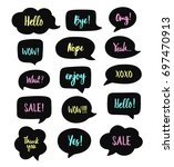 trendy speech bubbles set with... | Shutterstock .eps vector #697470913