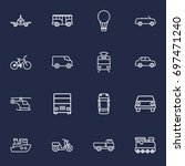 set of 16 transport outline...
