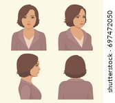 vector girl hairstyles   full... | Shutterstock .eps vector #697472050