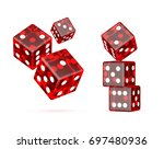 red dices on a white background