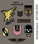set of military and army badge... | Shutterstock .eps vector #697481344