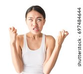 portrait of asian angry pensive ... | Shutterstock . vector #697484644