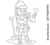 coloring page of cartoon boy... | Shutterstock .eps vector #697485994