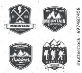 set of mountain expedition... | Shutterstock .eps vector #697487458