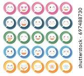 emoji icon set round shape type ... | Shutterstock .eps vector #697488730