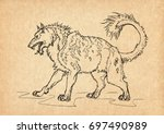 illustration with hand drawn... | Shutterstock . vector #697490989
