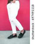 leather black shoes and white... | Shutterstock . vector #697491118