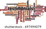testimonials word cloud concept.... | Shutterstock .eps vector #697494079