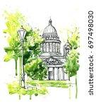 hand drawn watercolor sketch...   Shutterstock . vector #697498030
