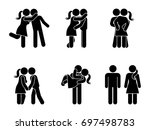 stick figure kissing couple set.... | Shutterstock .eps vector #697498783
