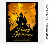 halloween poster with bats   Shutterstock .eps vector #697501690