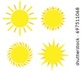 yellow sun icon set isolated on ... | Shutterstock .eps vector #697511068