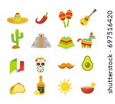 mexico colorful icons set ... | Shutterstock .eps vector #697516420