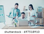 yes  we did it  success and... | Shutterstock . vector #697518910