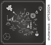 science blackboard with math.... | Shutterstock .eps vector #697520224
