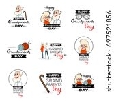 happy grandparents day greeting ... | Shutterstock .eps vector #697521856