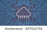cloud database over computer... | Shutterstock .eps vector #697522750