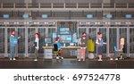 people working in data center... | Shutterstock .eps vector #697524778