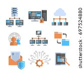 data connection icons set cloud ... | Shutterstock .eps vector #697524880