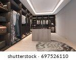 3d rendering minimal loft dark... | Shutterstock . vector #697526110