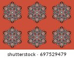 decorative christmas background ... | Shutterstock . vector #697529479