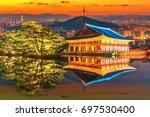 reflection of gyeongbokgung... | Shutterstock . vector #697530400
