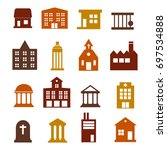 buildings icon set for web... | Shutterstock .eps vector #697534888