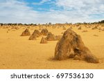 yellow sand dunes and ... | Shutterstock . vector #697536130