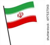 flag of iran   iran flag waving ... | Shutterstock .eps vector #697537543