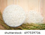 thai jasmine rice in bowl and... | Shutterstock . vector #697539736