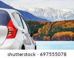 road trip concept  car driving... | Shutterstock . vector #697555078