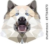 dog head low poly vector...