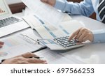 business analyst team checking... | Shutterstock . vector #697566253