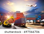 forklift handling container box ... | Shutterstock . vector #697566706