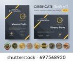 certificate template with... | Shutterstock .eps vector #697568920