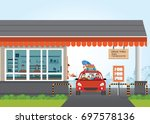 family getting food at a drive... | Shutterstock .eps vector #697578136