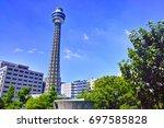 yokohama marine tower seen from ... | Shutterstock . vector #697585828