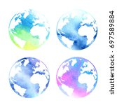set of watercolor planets earth ... | Shutterstock . vector #697589884