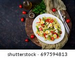 salad   penne pasta with...   Shutterstock . vector #697594813