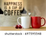 white red cup of coffee and... | Shutterstock . vector #697595548